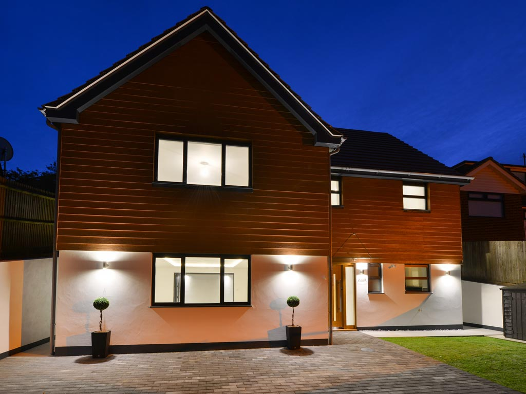 Eco Home Exterior at Night